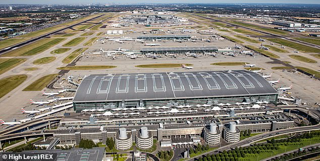 The government also appears to be sticking with its travel corridors, which mean people returning from countries on the 'safe' list will not have to quarantine on their arrival back in the UK. Pictured: Heathrow Airport