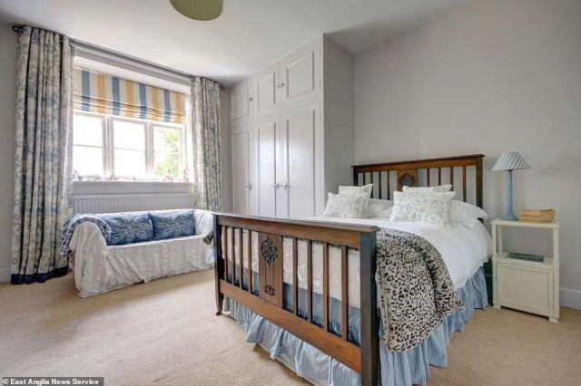 The Queen is currently spending a long weekend with Prince Philip at her modest farmhouse on the Norfolk estate after returning to work at Windsor Castle for the past month, according to The Mail on Sunday. Pictured, one of the bedrooms available in the manor house