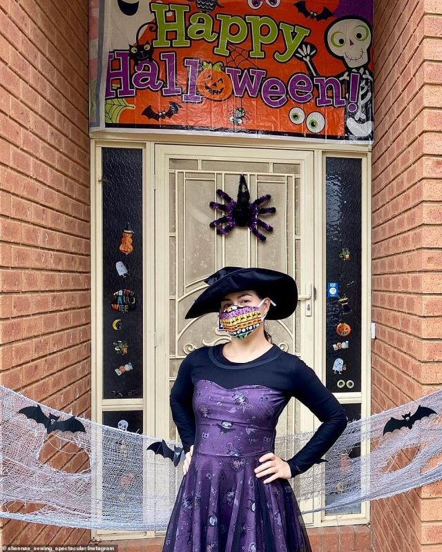 A Victorian woman spent this year's Halloween as a witch with a purple dress, hat, and a colourfully-patterned face mask