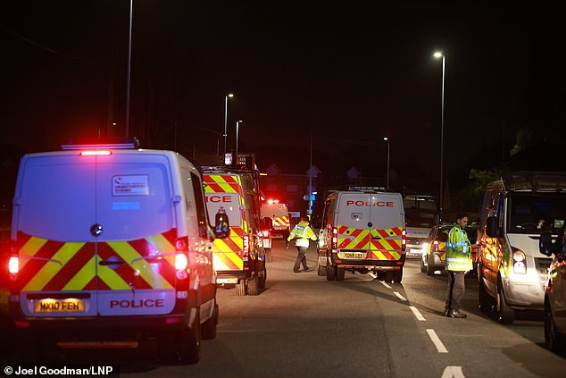 Around fifteen riot vans could be seen parked on Warrington Road to break up the revellers