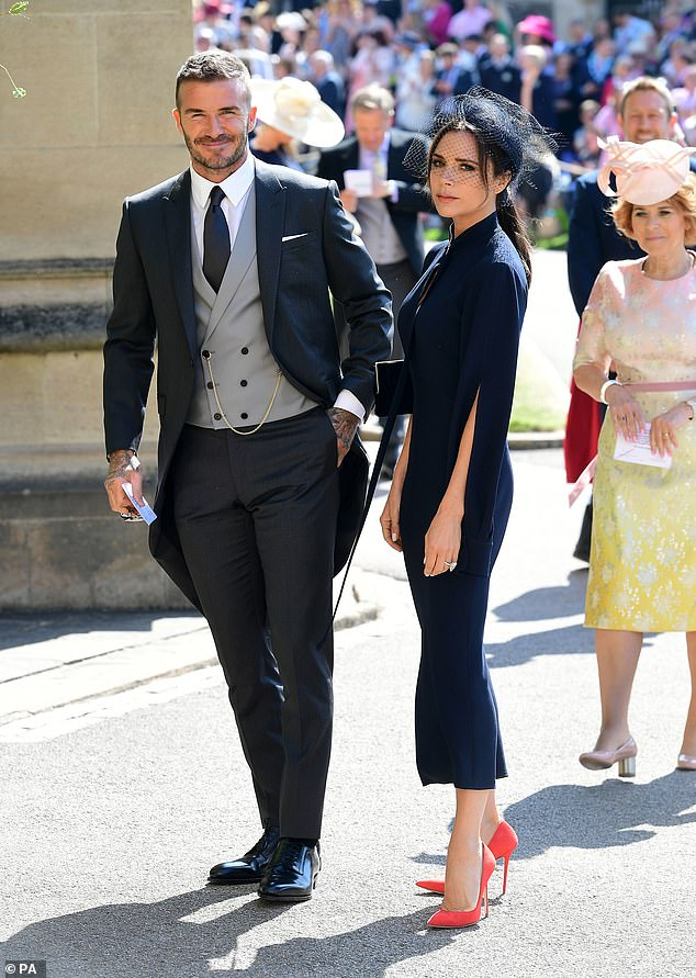 Victoria Beckham pictured with husband David at Meghan and Prince Harry's wedding in 2018