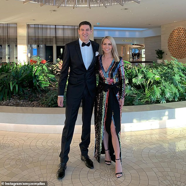 Radio host, former TV star and Lord Mayor of Perth Basil Zempilas (left) with wife Amy (right)