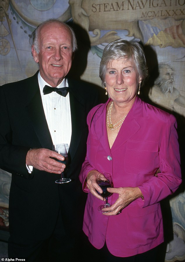 The late TV presenter Frank Bough pictured with his wife, Nesta, who survives him, in 1993