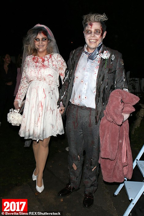 Guests: Rob Beckett and his wife Louise were blood-soaked at the 2017 event