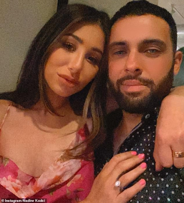 Locky, who? Bachelor reject Nadine Kodsi, 30, announced her engagement to her mystery beau in an Instagram post on Sunday (pictured). Nadine is yet to reveal his name