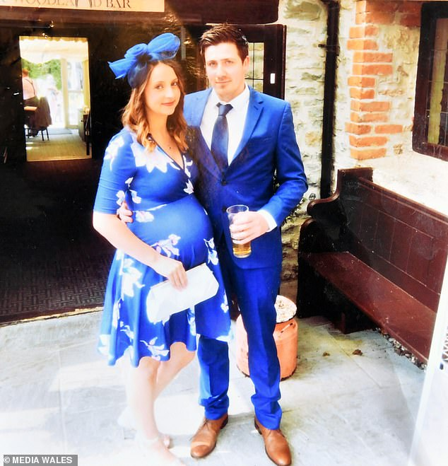 In a now closed investigation, South Wales Police concluded that the huge explosion was most likely caused by a 'combination of ageing LPG gas (gas which is stored in cylinders or bottles) and environmental conditions'. Pictured, Jessica with her partner before the blast, while pregnant with one of her sons