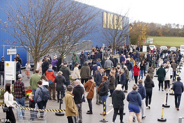 Shoppers queue outside Ikea in Batley, West Yorkshire, after Prime Minister Boris Johnson announced a new national lockdown