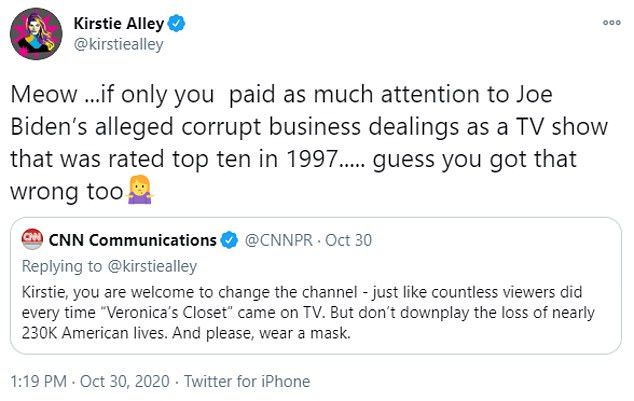 Alley, who has been vocal about her support for Donald Trump, hit back: 'Meow... if only you paid as much attention to Joe Biden's alleged corrupt business dealings as a TV show that was rated top ten in 1997... guess you got that wrong too.'
