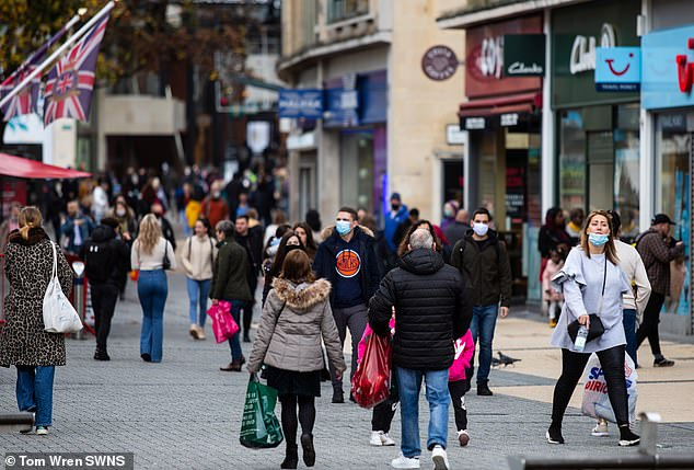 Most kept their masks off in crowded shopping areas whilst other only wore the protection in stores