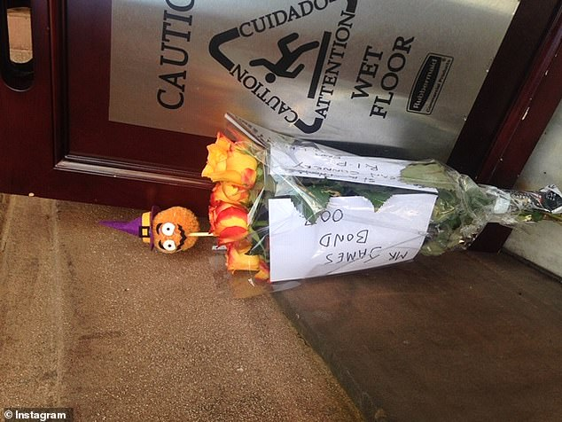 Heartwarming: A bouquet of flowers for the actor was written to 'Mr James Bond 007'