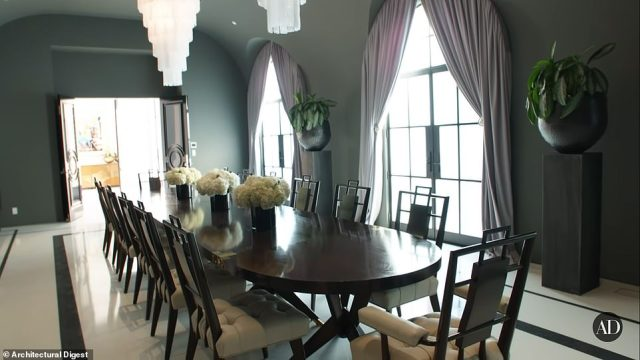 Meals are a special affair in this villa with a formal dining table that seats 20
