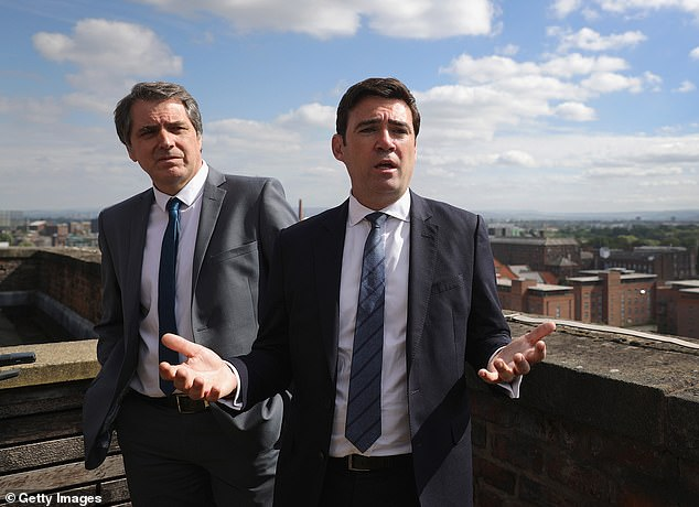 Workers in the north of England were only being offered 67 per cent of pay when businesses were forced to close as part of Tier 3 restrictions. Steve Rotheram (left) and Andy Burnham (right) have suggested there is a north vs south divide in the government's thinking
