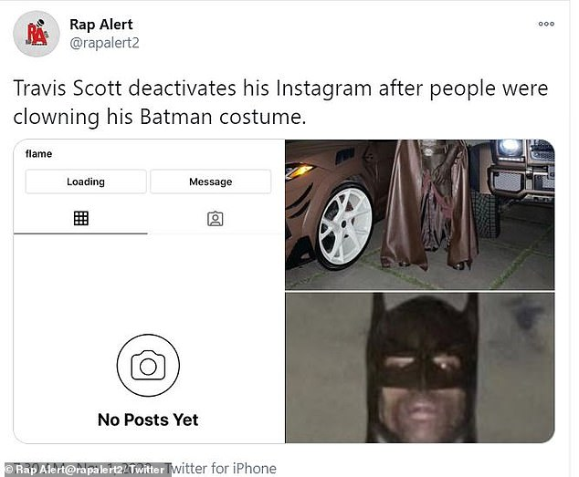Deactivated: The deactivated account was apparently first noticed by Rap Alert, who posted some of Scott's last Halloween pics and a snippet of his now-empty IG page