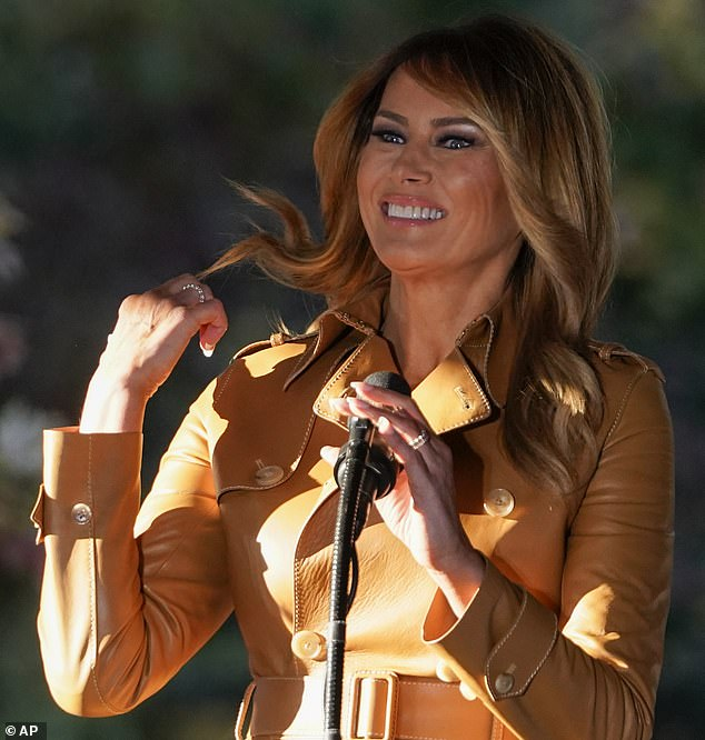 Outfit of the day: The First Lady donned a $5,990 leather jacket by Ralph Lauren for the 'Make America Great Again' rally at Magnolia Woods