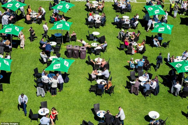Far more civil scenes were seen in Sydney as punters were pictured at socially distanced tables as part of the coronavirus safety measures at Randwick Racecourse