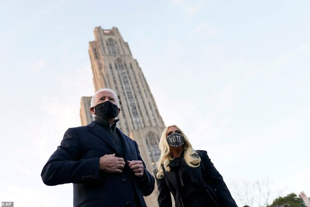 Joe Biden (left) and Lady Gaga (right) appeared together Monday on the campus of the University of Pittsburgh, with the Cathedral of Learning peeking out behind the duo