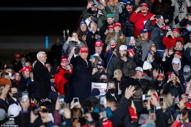 Pence joined Trump on stage for the final night of the campaign
