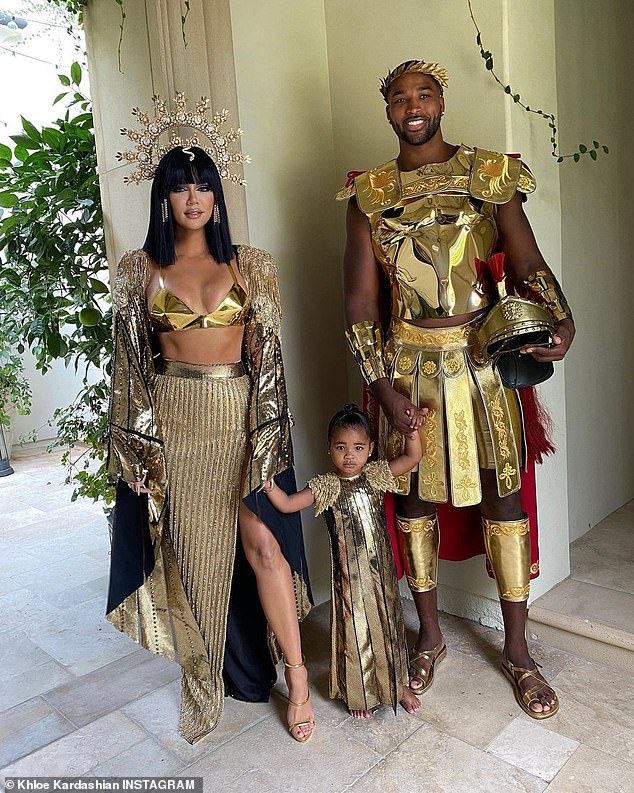 Working it out:Khloe welcomed True in 2018 with Tristan, whom she split from in 2019 due to an alleged cheating scandal with sister Kylie Jenner's former BFF Jordyn Woods