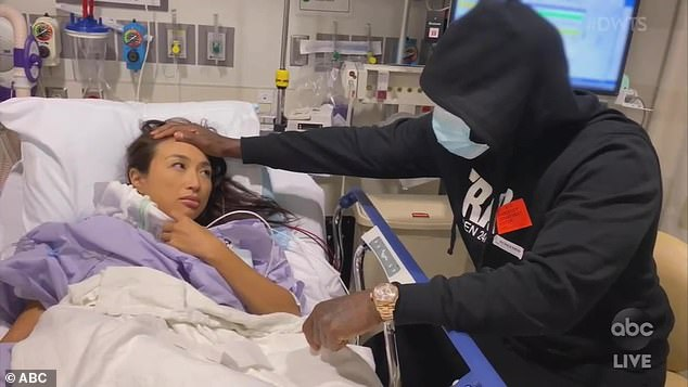 Showing support: Jeannie's rapper fiancé Jeezy, 43, comforted her after the surgery