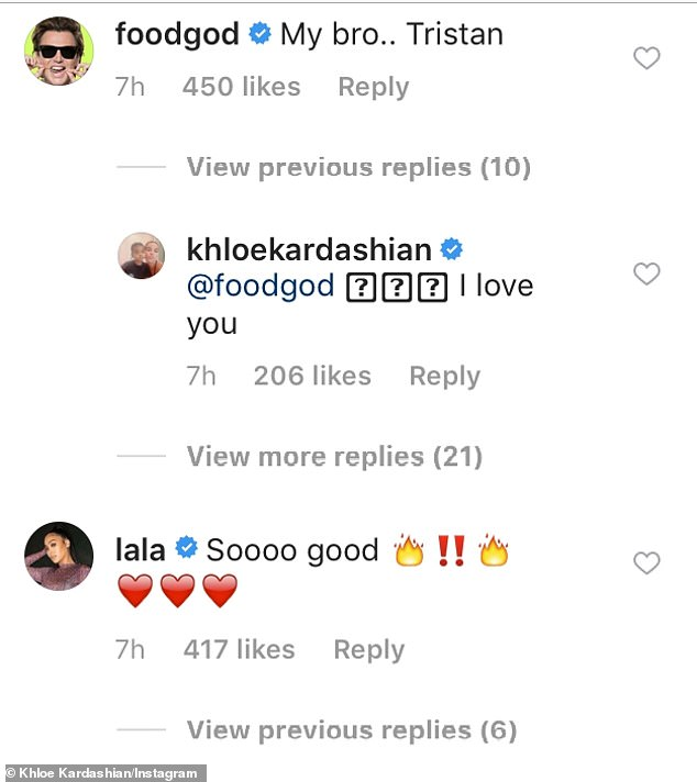 Support:'Holy,' wrote Khloe's eldest sister Kourtney, 41, who received nearly 1,500 likes on her comment