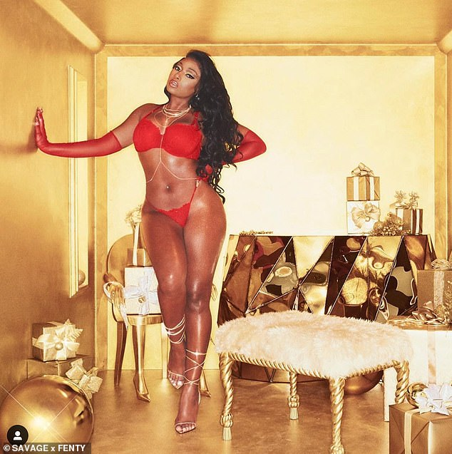 Lady in red! Megan Thee Stallion wowed in another jaw-dropping shot on Monday evening, as she posed in a busty red lace bra and a barely-there thong