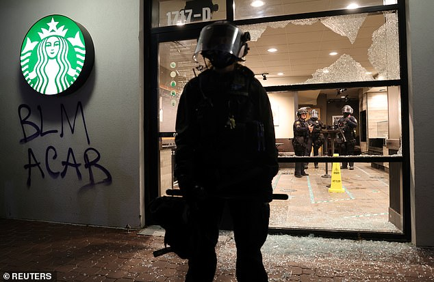 Protests in Portland continued on the eve of the election on Monday as BLM demonstrators destroyed a Starbucks and clashed with police