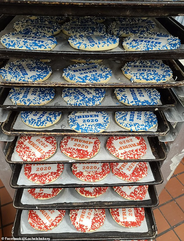 According to the bakery, sales and orders for Trump-themed cookies have 'vastly' outstripped those for the Biden-themed equivalent by a margin of almost 6 to 1