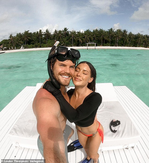 Maldives memories:Louise Thompson gave her followers a further glimpse into her idyllic getaway on Tuesday, including snaps of a snorkelling trip and her incredible '12-pack'