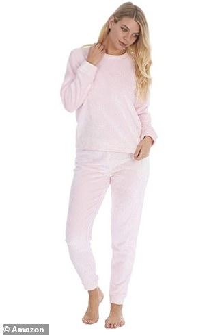 Style It Up Womens Fleece Loungewear in Frosted Pink Shimmer