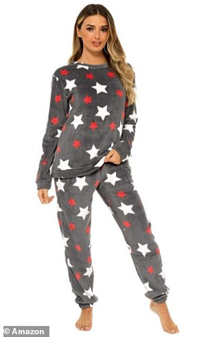 Style It Up Womens Fleece Loungewear inCharcoal Star Pyjama