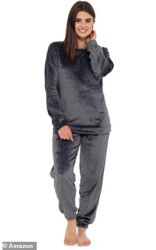 Style It Up Womens Fleece Loungewear in Charcoal Pyjama Set