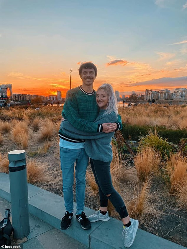 Hairdresser Anna Hosey, 26, from Chicago, liked the look of Adam, a graphic designer,(pictured together) and they began talking every day when he reached out to her