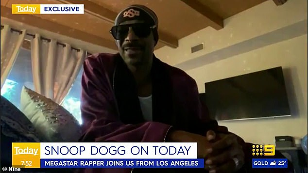His idol: Unveiling himself to be a mega-fan of the American rapper, Karl proclaimed: 'Finally I got to drop it like it's hot, Australia, because Snoop's in the house. Check it'