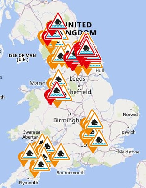 There are 22 flood warnings (red) in place, and 35 flood alerts (orange)