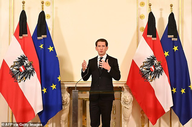 Austrian Chancellor Sebastian Kurz addresses a press conference at the Chancellery in Vienna on Tuesday morning following the attack. He said: 'It was an attack out of hatred - hatred for our fundamental values, hatred for our way of life, hatred for our democracy in which all people have equal rights and dignity'