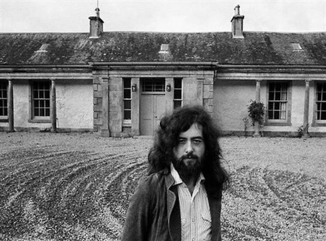 Jimmy Page pictured visiting Boleskine House, which he purchased in the 1970s during the height of band Led Zeppelin's success