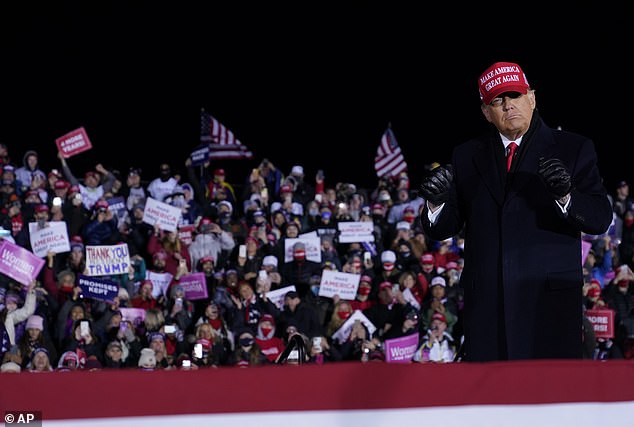 President Trump in Michigan on Monday night, his final campaign event before polls opened