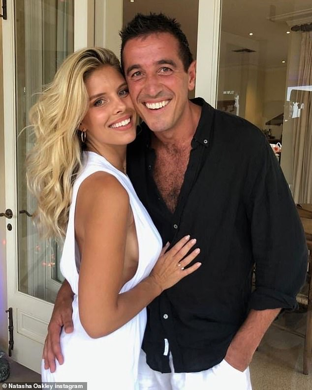 Happy together:They confirmed they were back together in March, after a split last November. But it seems that Natasha Oakley and her boyfriend Theo Chambers don't count that blip in the timeline, as the pair celebrated their two-year anniversary on Tuesday. Both pictured