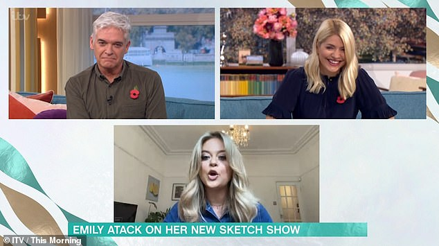 Haha! Holly Willoughby was left in stitches when she saw Emily Atack's impersonation of her on This Morning on Tuesday