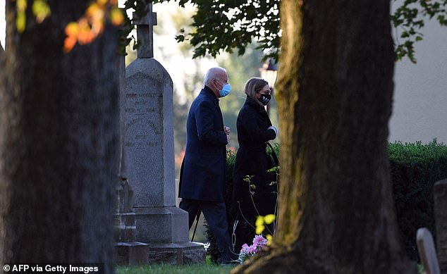 The family attended mass at their local church before paying a visit to the grave of Biden's late son Beau (pictured), an Iraq War veteran and Delaware attorney general