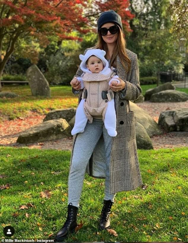 Milestone: Millie and Hugo celebrated Sienna's six-month mark on Sunday by buying her a cake