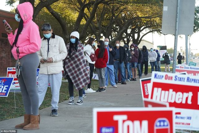 HOUSTON, TEXAS: Lines outside this polling station in Houston Texas stretched around the block after opening