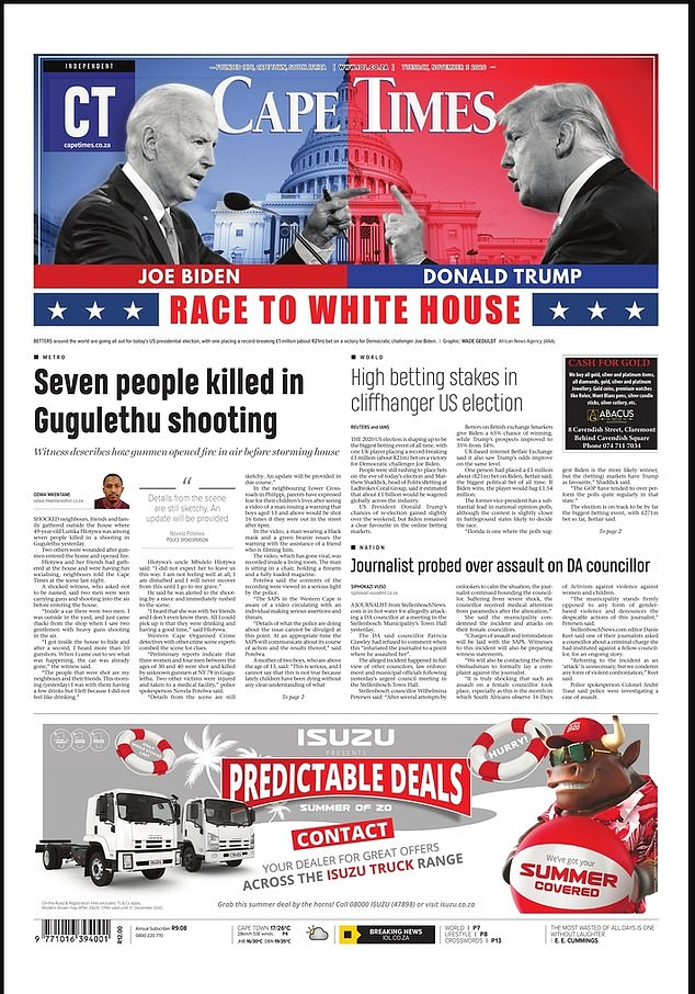 SOUTH AFRICA: The Cape Times flashed the two candidates in their respective party colors at the top of their front page