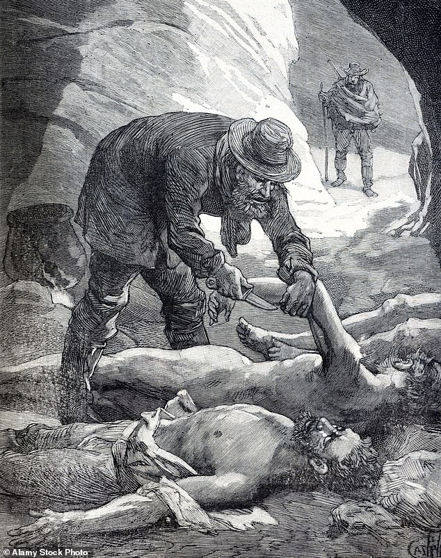 An illustration from 1886 shows Packer in the process of cutting limbs from his victims before he feasts on them