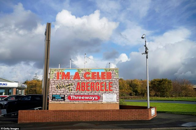 Welcome! A sign outside the town bid welcome to the I'm A Celebrity contestants set to arrive in the town imminently