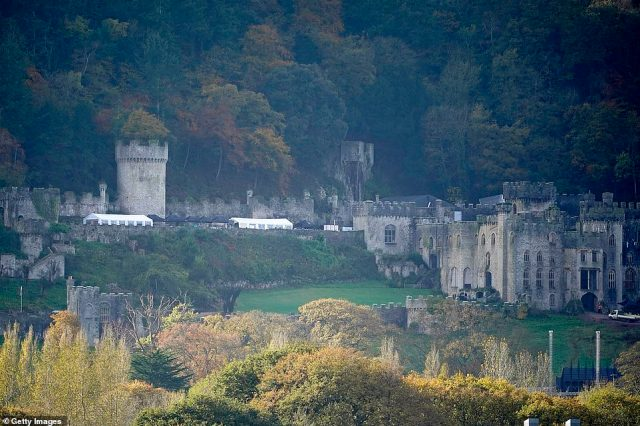 All set up: Pictures of the castle taken on Tuesday showed that preparations have been completed at the filming location