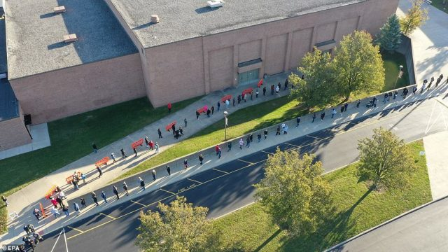 UNION, KENTUCKY: A drone shows a long line of voters waiting at a polling location at the Larry A Ryle High School in Union