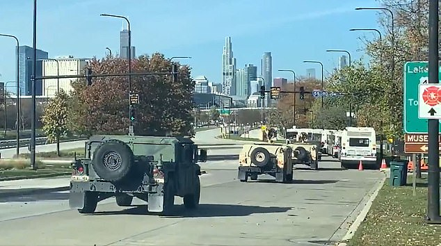 Armored tanks arrive in downtown Chicago on Monday after Gov. JB Pritzker mobilized the National Guard ahead of anticipated unrest