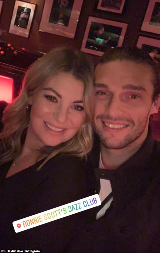 Birthday girl! Billi Mucklow and her fiancé Andy Carroll enjoyed some quality time together on Tuesday as they visited Ronnie Scott's jazz bar in Soho, London, for her birthday lunch