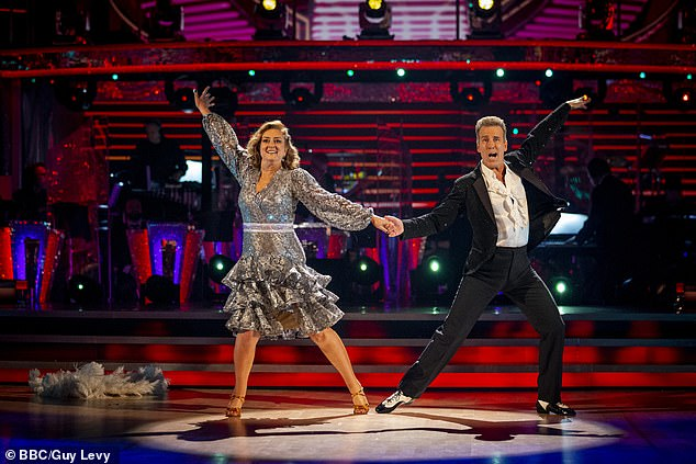 Departure: The former Home Secretary became the first celebrity to be eliminated from this year's competition with dance partner Anton du Beke